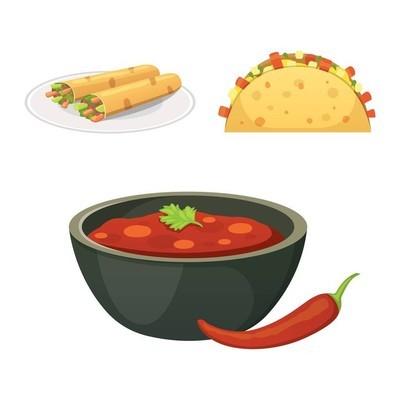 墨西哥菜卡通菜图盘