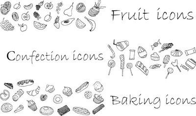 图标集手绘、 甜点、 烘烤和水果