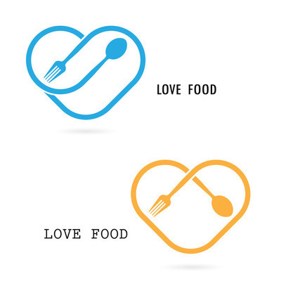 Spoon,Fork  and Heart shape logo.Love Food Logo.Restaurant menu