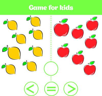 学龄前儿童的教育逻辑游戏。选择正确的答案。更多, 较少或相等的向量图。水果蔬菜, 儿童图片