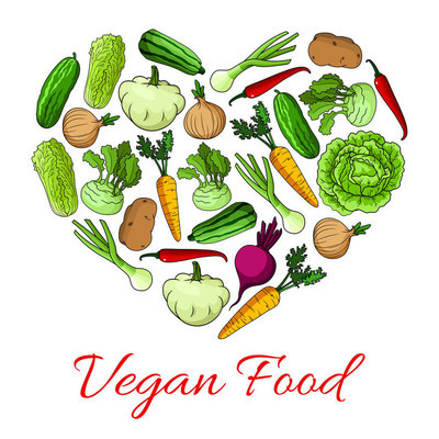 蔬菜的素食食品心海报