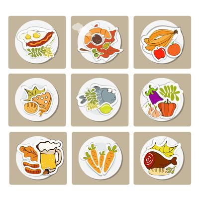 在平面插画风格的食物