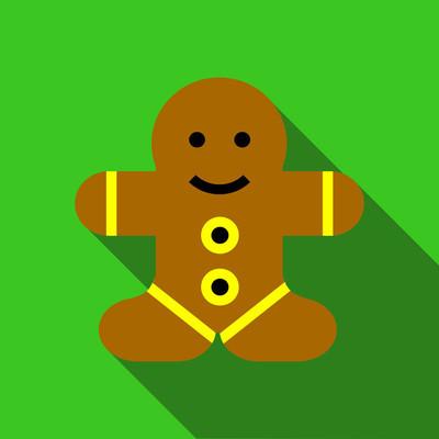 姜饼人图标,平面样式