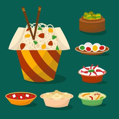 中餐传统食品菜肴美味亚洲餐中餐中餐熟矢量插画