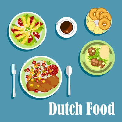 National dutch cuisine dishes and desserts