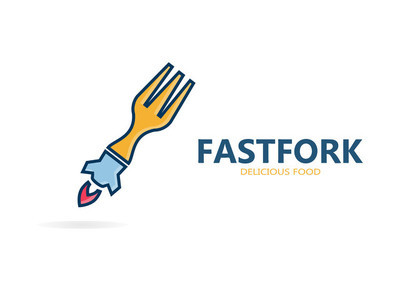 Fork and rocket logo for  fast food restaurant