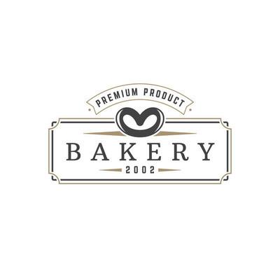 面包店 logo 模板矢量对象的标识或徽章