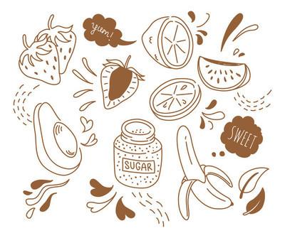 一套水果卡通图标