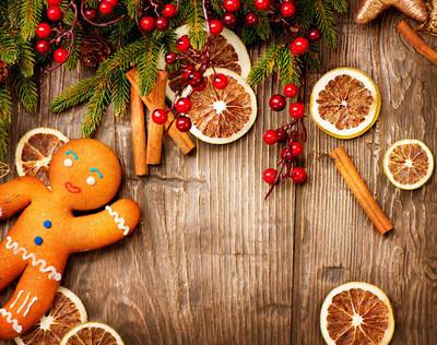 圣诞假期的背景。姜饼人