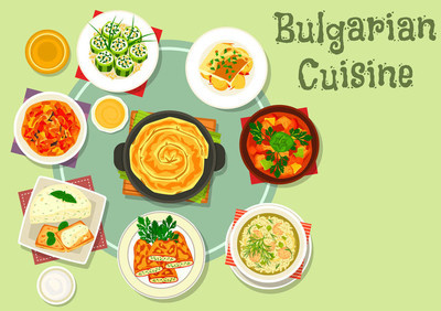 食品主题设计的保加利亚菜图标