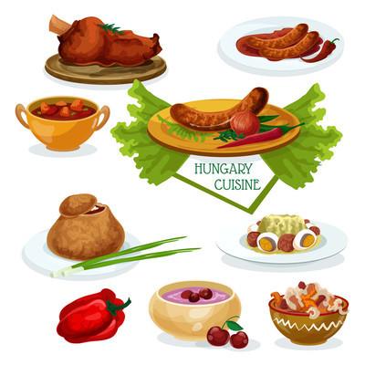 Hungarian cuisine icon for restaurant menu design
