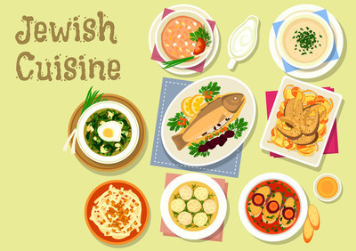 Jewish cuisine traditional dishes for dinner icon