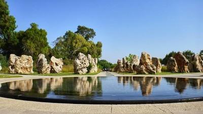 美丽的公园,与平喷泉