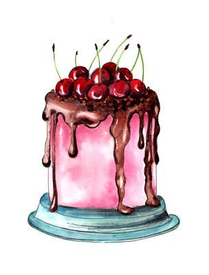 蛋糕与樱桃和巧克力水彩图画
