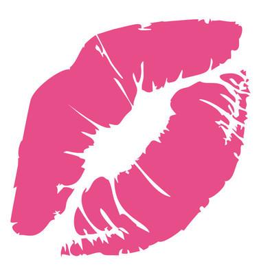 平面图标设计的嘴唇, 接吻的概念