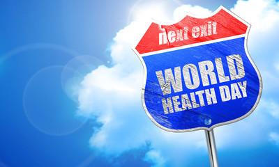 世界卫生日,3d 渲染,街头的蓝色标志