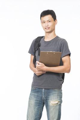 年轻的中国学生,在白色背景上