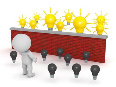 砖围墙灯泡的想法望的 3d 角色