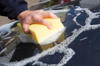 手洗车盖用海绵的特写
