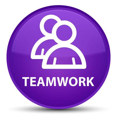 团队合作 (组图标) 特殊紫色圆形按钮