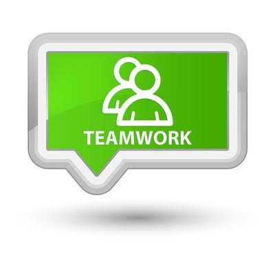 团队合作 (组图标) 总理软绿色横幅按钮