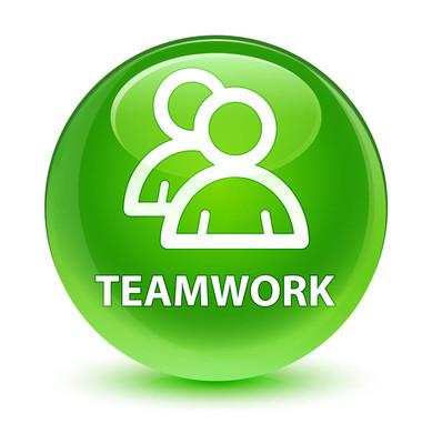 团队合作 (组图标) 玻绿色圆形按钮