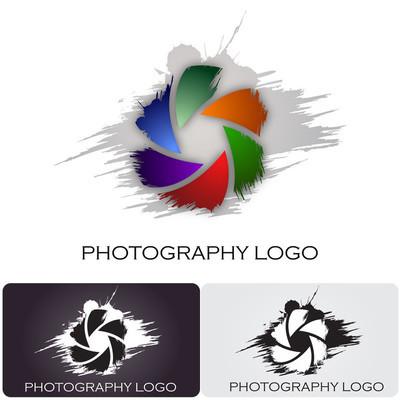 摄影公司徽标刷风格 #Vector
