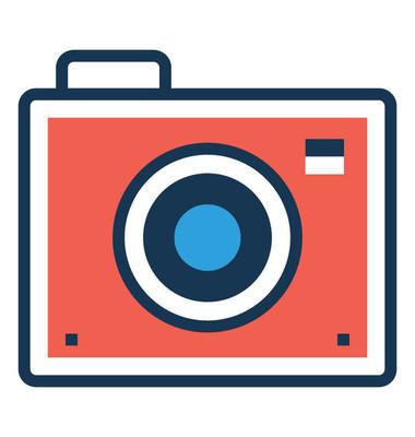 相机扁线彩色矢量图标