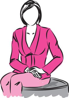 商业的女人坐在插画