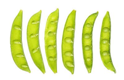 打开隔离在白色背景上的新鲜豌豆