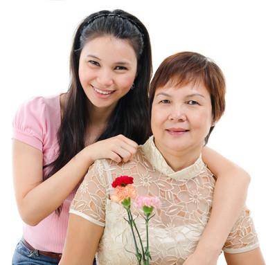 母亲和女儿在母亲节