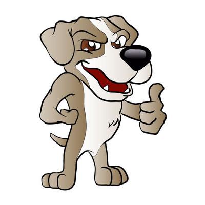 坏狗卡通。狗素描