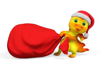 圣诞人物卡通龙携带红色袋子 3d 楼效果图