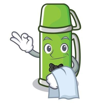 服务员热水瓶卡通风格