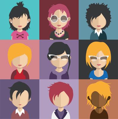 一组妇女头像图标