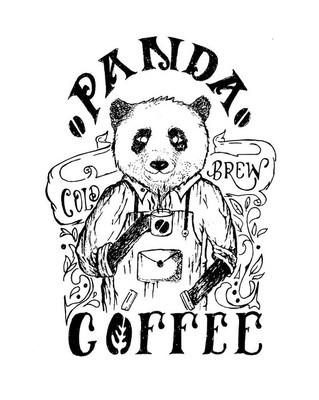 熊猫咖啡手画动物人物插画