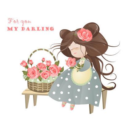篮子的玫瑰花的女孩