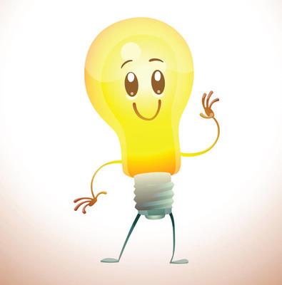 滑稽的黄色电灯泡挥动的手