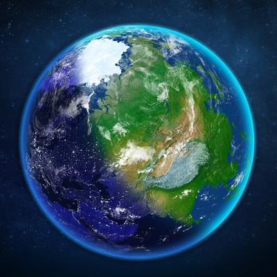行星地球。从空间查看