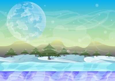 卡通矢量雪景与分层