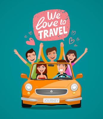 愉快的年轻人或愉快的朋友乘汽车旅行。旅行, 旅游, 度假概念。卡通矢量插画