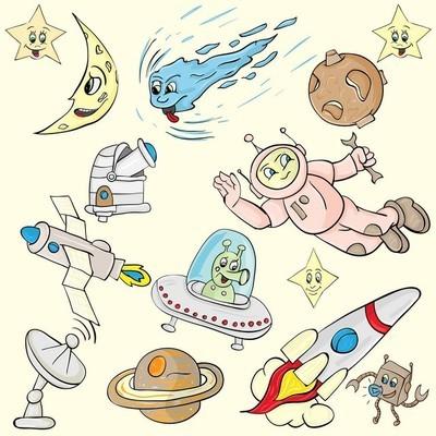 儿童插画与空间主题的人物