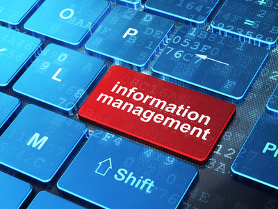 Information concept: Information Management on computer keyboard background