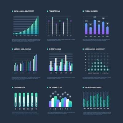 图表元素。数据可视化图表, 业务流程流程。演示文稿图表和图表。矢量图形