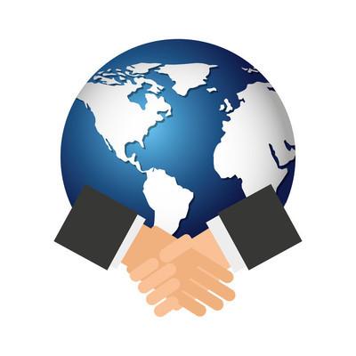 世界地球与握手图标
