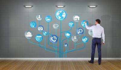 商人使用社交网络接口上墙 3d 楼效果图