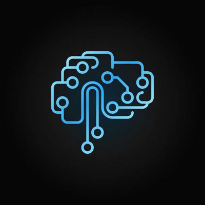 电路技术大脑轮廓蓝色图标。向量 ai 脑子标志
