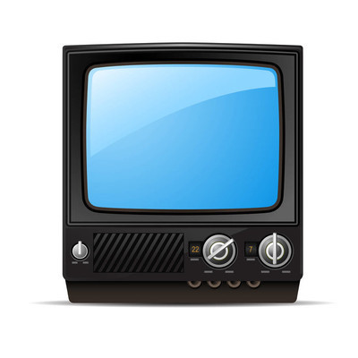 带空白屏幕的复古电视-老式电视, 前景色