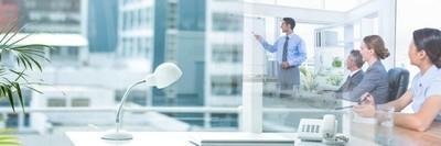 商界人士开会,与办事处的过渡效果