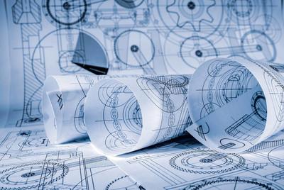 蓝色的调子的技术图纸